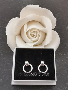 925 Sterling Silver Hanging Circle Stud Earrings