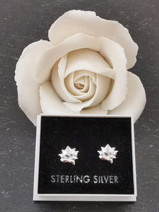 925 Sterling Silver Lotus Flower Stud Earrings