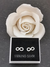 Load image into Gallery viewer, 925 Sterling Silver Rope Infinity Stud Earrings