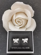 Load image into Gallery viewer, 925 Sterling Silver Solid Butterfly Stud Earrings