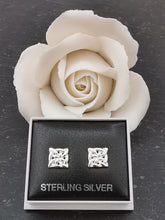Load image into Gallery viewer, 925 Sterling Silver Square Celtic Knot Stud Earrings