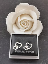 Load image into Gallery viewer, 925 Sterling Silver Staggered Double Heart Stud Earrings