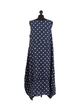 Load image into Gallery viewer, Italian Linen Sleeveless Square Neck Navy Polka Dot Dress