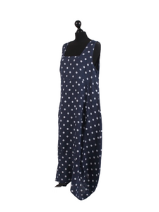 Italian Linen Sleeveless Square Neck Navy Polka Dot Dress
