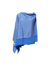 Load image into Gallery viewer, Lightweight Royal Blue Poncho with Chiffon Edge