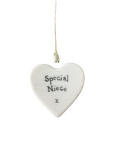 Load image into Gallery viewer, East of India Hanging Small Porcelain Heart - Special Niece
