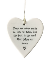 Load image into Gallery viewer, East of India Hanging Porcelain Heart - There Are Many Roads