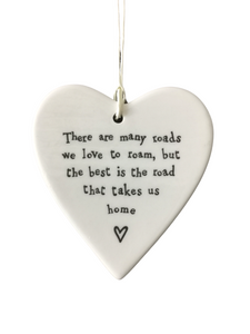 East of India Hanging Porcelain Heart - There Are Many Roads