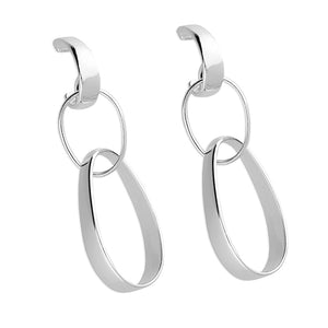 925 Sterling Silver Triple Large Link Stud Drop Earrings