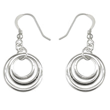 Load image into Gallery viewer, 925 Sterling Silver Triple Offset Circle Drop Earrings