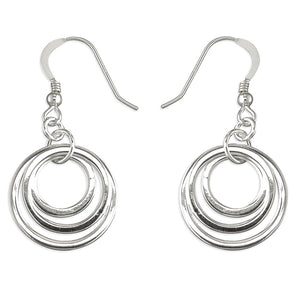 925 Sterling Silver Triple Offset Circle Drop Earrings