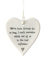 Load image into Gallery viewer, East of India Hanging Porcelain Heart - We've Been Friends