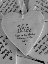 Load image into Gallery viewer, East of India Hanging Porcelain Heart - Happy On The Outside