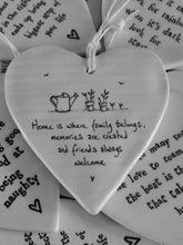 Load image into Gallery viewer, East of India Hanging Porcelain Heart - Home Is Where