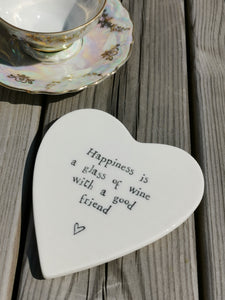 East of India - Porcelain Heart Coaster - Happiness Is A Glass