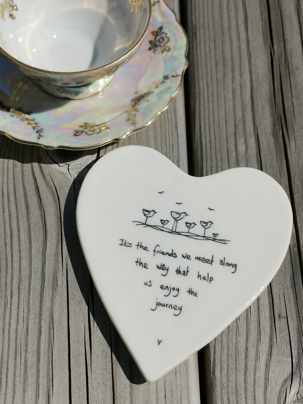 East of India - Porcelain Heart Coaster - It's The Friends We Meet