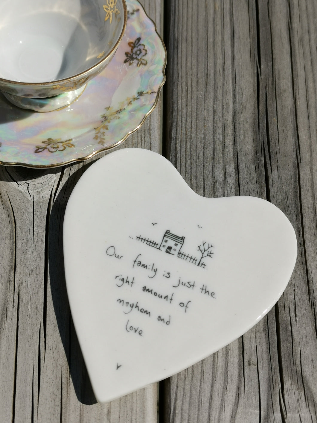 East of India - Porcelain Heart Coaster - Our Family Is Just The Right
