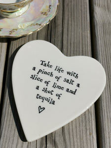 East of India - Porcelain Heart Coaster - Take Life With A Pinch