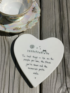 East of India - Porcelain Heart Coaster - The Best Things In Life