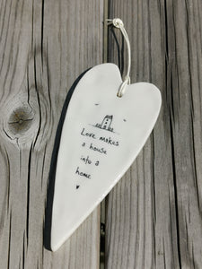 East of India Hanging Porcelain Long Heart - Love Makes A House