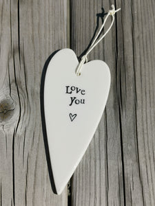 East of India Hanging Porcelain Long Heart - Love You