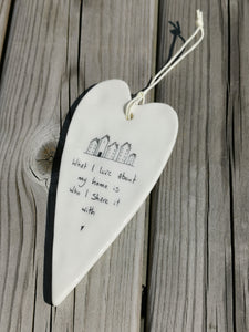 East of India Hanging Porcelain Long Heart - What I Love About