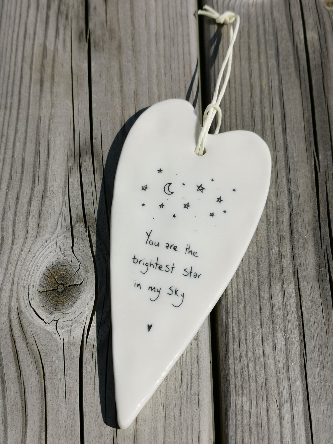 East of India Hanging Porcelain Long Heart - You Are The Brightest Star