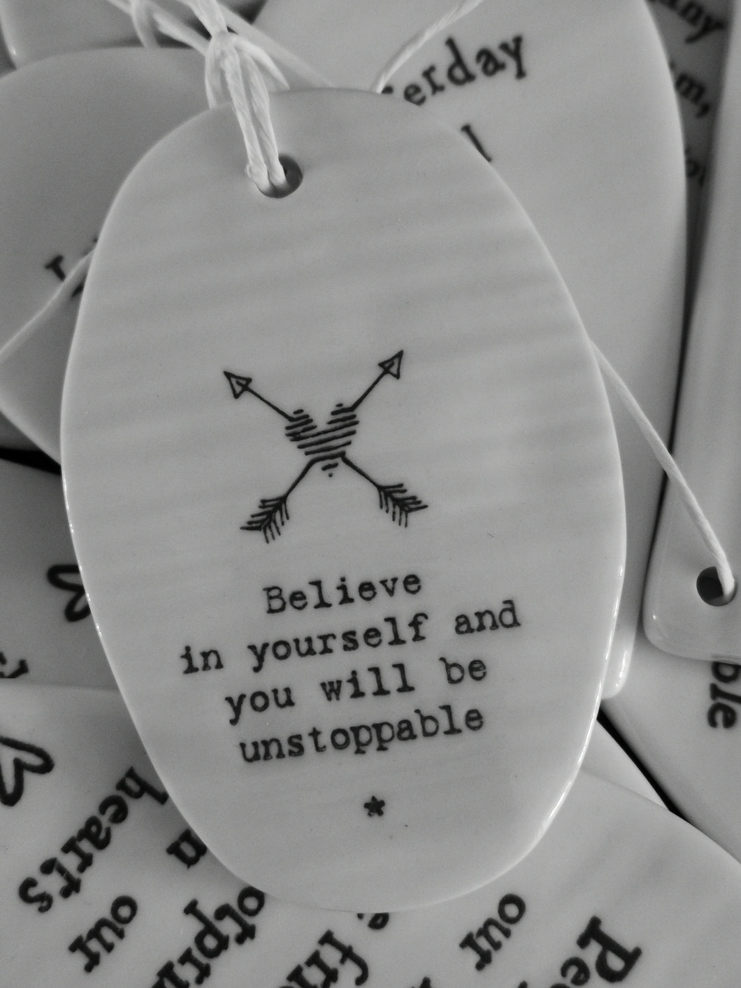 East of India - Hanging Oval Pebble - Believe In Yourself