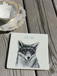 East of India - Porcelain Square Animal Coaster - Foxy Lady