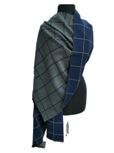 Cashmere Mix Reversible Grey & Blue Contemporary Check Print Wrap/Scarf/Shawl