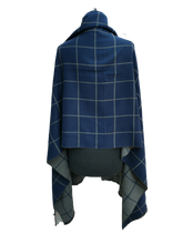 Load image into Gallery viewer, Cashmere Mix Reversible Grey & Blue Contemporary Check Print Wrap/Scarf/Shawl