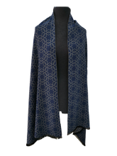 Load image into Gallery viewer, Cashmere Mix Reversible Grey & Blue Contemporary Star Print Wrap/Scarf/Shawl