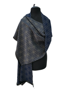 Cashmere Mix Reversible Grey & Blue Contemporary Star Print Wrap/Scarf/Shawl