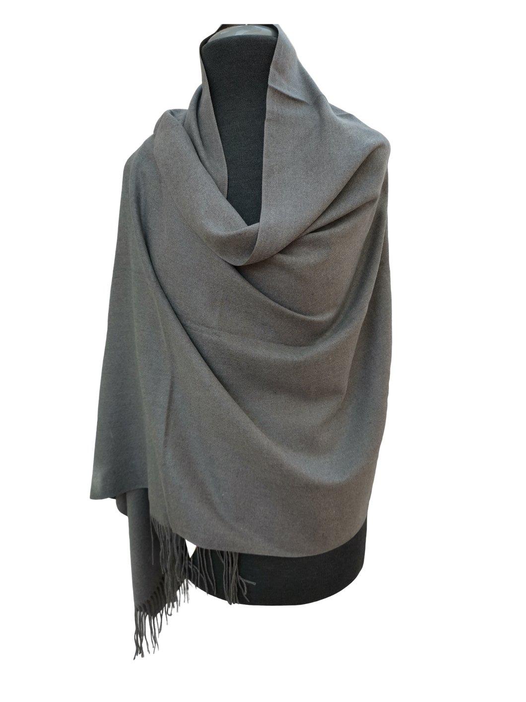 Plain Block Colour Cashmere Mix Wrap/Scarf - Dark Grey