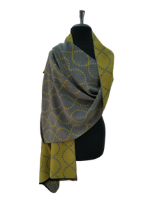 Cashmere Mix Reversible Grey & Yellow Contemporary Wave Print Wrap/Scarf/Shawl
