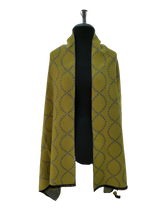 Load image into Gallery viewer, Cashmere Mix Reversible Grey & Yellow Contemporary Wave Print Wrap/Scarf/Shawl