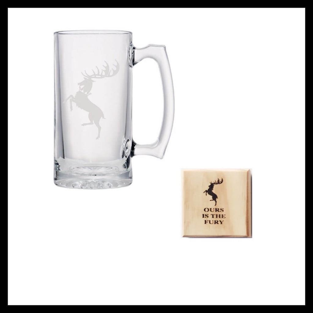 House Baratheon Silhouette Beer Mug and Wood Coaster