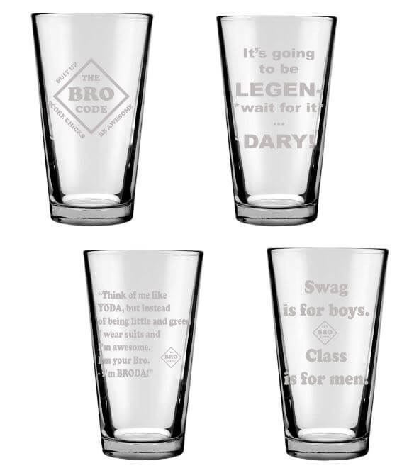 Barney Stinson Glassware Set of 4 Engraved 16oz. Drinking Glasses: The Bro Code, Legen wait for it Dary, Broda, Swag is Boys