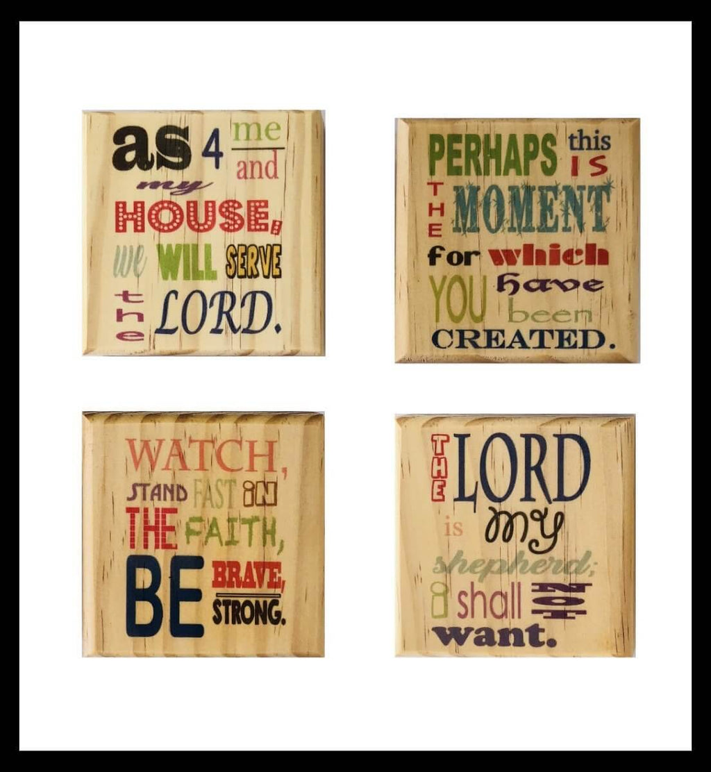 Inspirational Bible Verse Coaster Set: Color Scripture Wooden Coaster Set Joshua 24:15, Esther 4:14, Psalm 23:1, 1 Corinthians 16:13