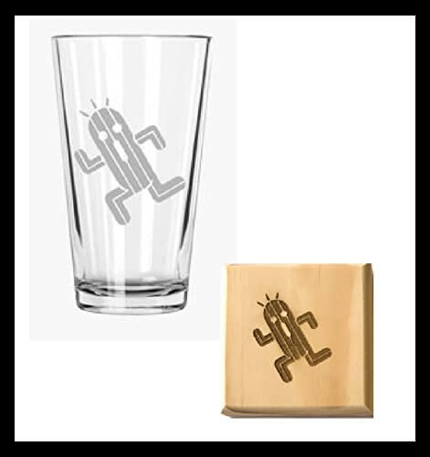 Cactuar Pint Glass and Wooden Coaster Set