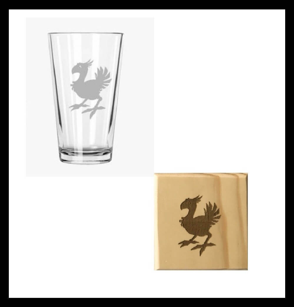 Chocobo Pint Glass and Wooden Coaster Set