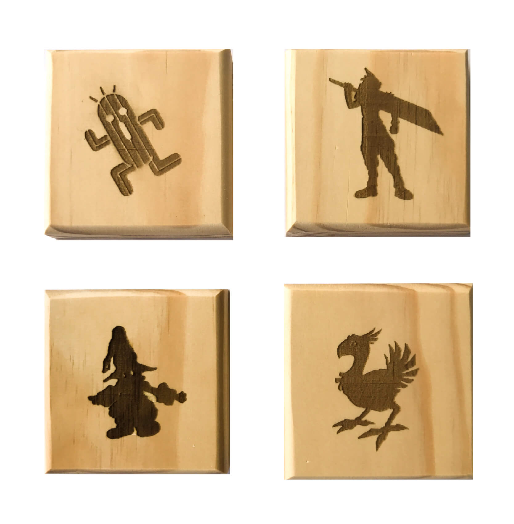 Video Game Permanent Engraved Gift Set of 4 Wood Coasters: Cloud, Vivi, Cactuar and Chocobo.