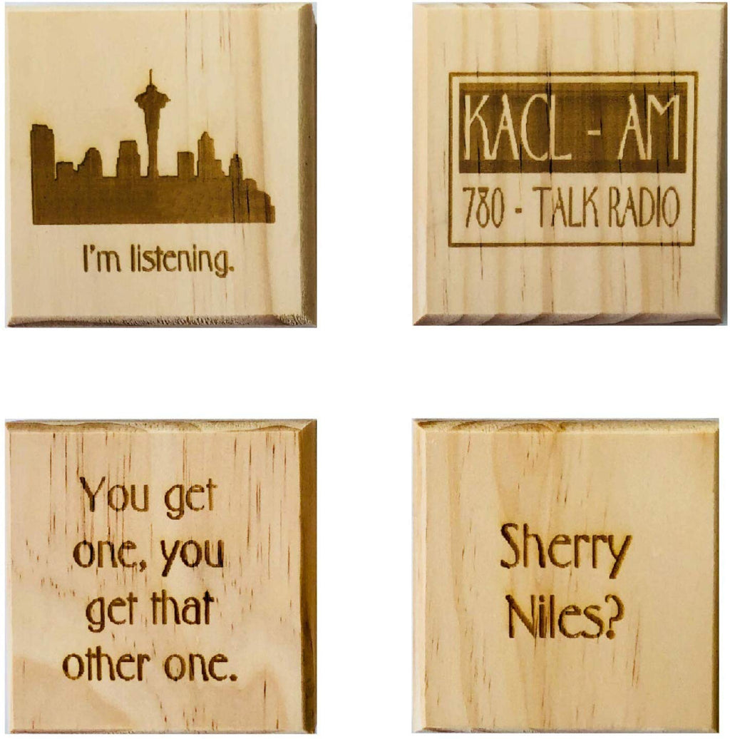I'm Listening Coasters: Wood coaster set of 4 - KACL, Sherry Niles?, I'm Listening, and You Get One