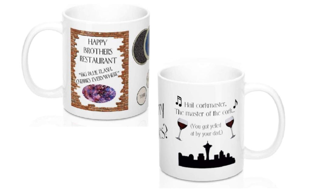 Frasier Mug Set of 2: TWO Different Coffee Mugs - Crane Brothers, Duke's, Caviar and Cork Master, Sherry Niles, Oh Dear God, I'm Listening Seattle Skyline