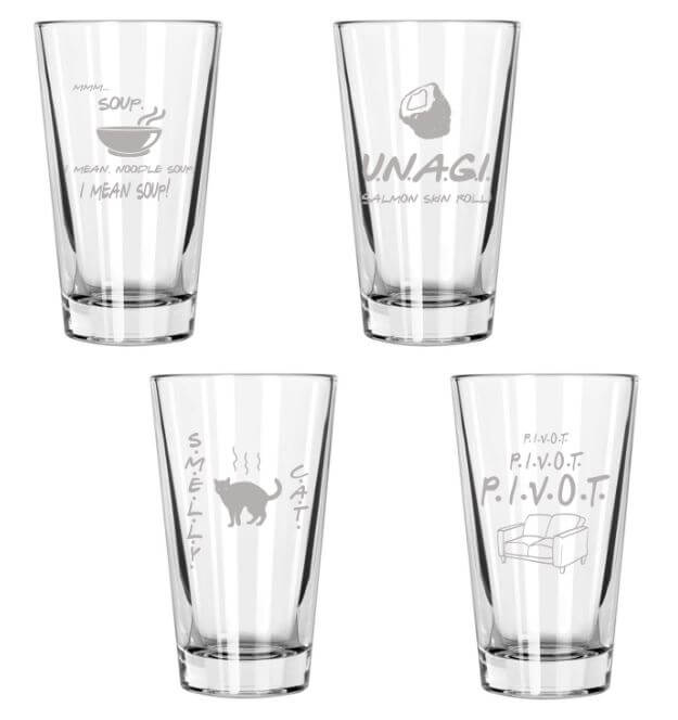 Friends Glasses Set of 4 Engraved 16 Ounce Drinking Glasses, Smelly Cat, Unagi, Pivot, Mmm Soup, Friends Fan Gift