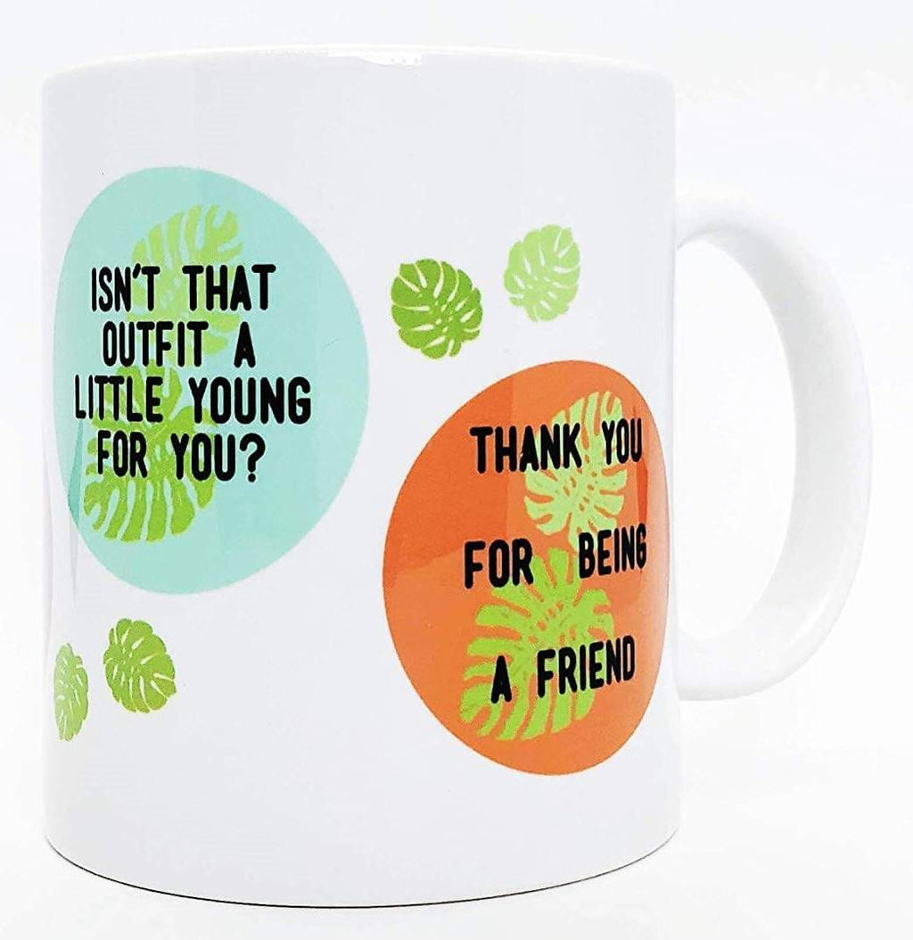 Brindle Southern Golden Girls Gift, Funny Golden Girls Coffee Mug: Sassy Quotes, Vintage Beachy Leaf Design - Thank You For Being A Friend, Cheesecake