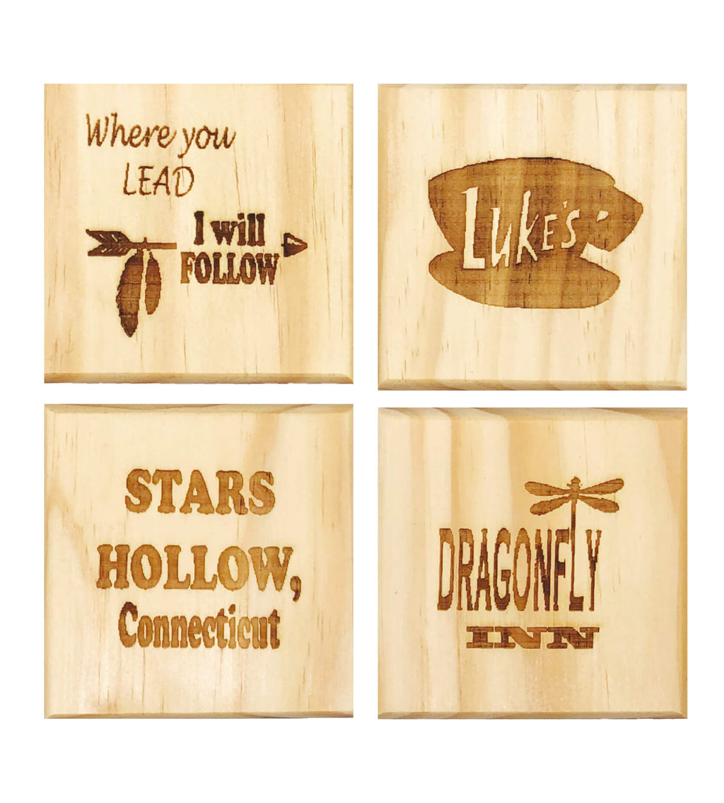 Gilmore Girls Inspired Coasters: Engraved Gift Set of 4, Stars Hollow, Duke's, Where You Lead I Will Follow, Dragonfly Inn