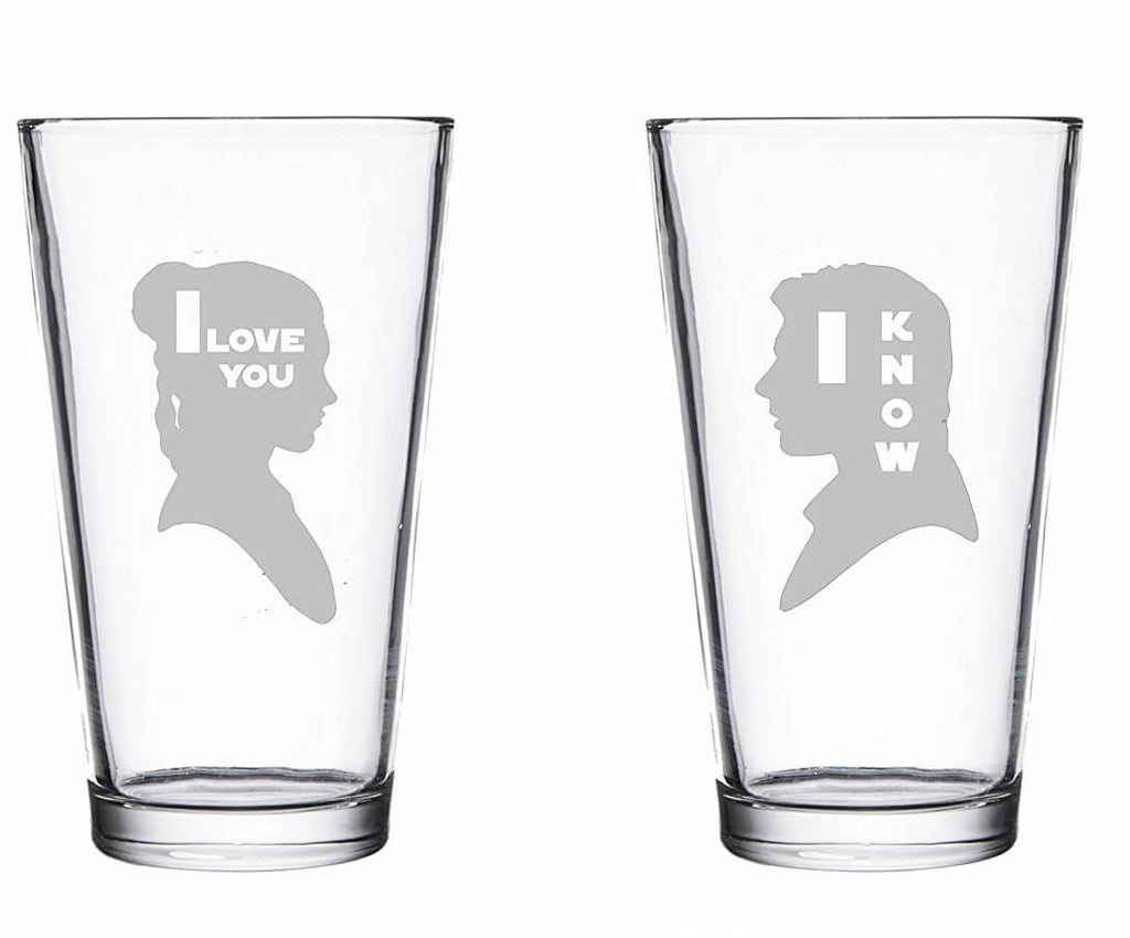 I Love You I Know Glassware Pint Set - Etched Weddig Gift for Coolest Couple in the Galaxy
