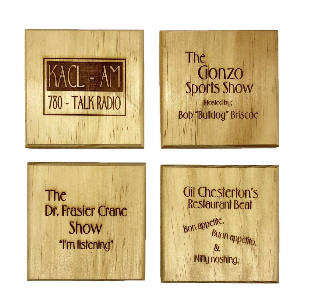 KACL Radio Show Coaster Set - Frasier Fan Gift Engraved REAL Wood Drink Coaster Set