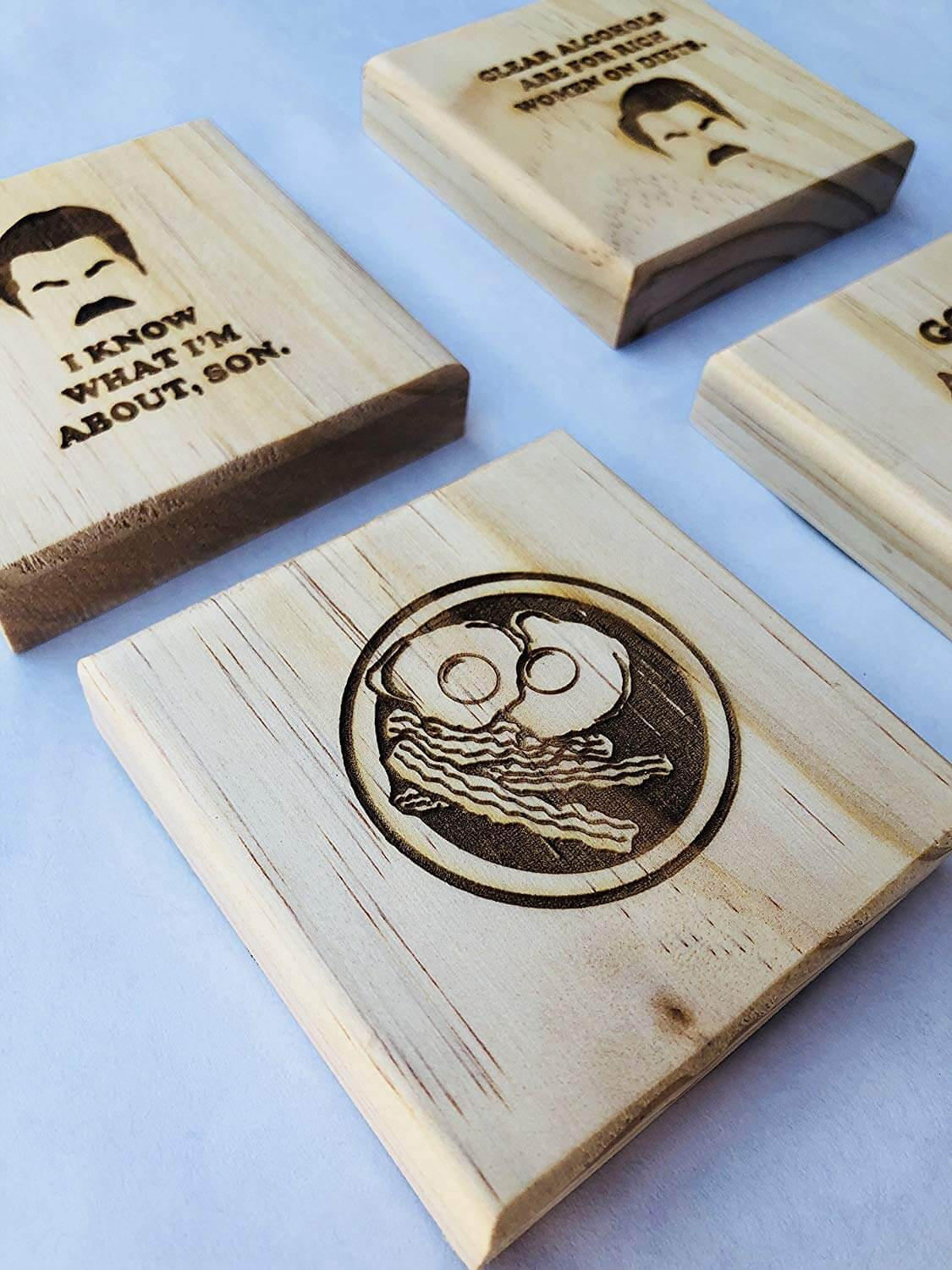 Ron Swanson Coasters: Permanent Engraved Gift Set of 4 Wood Coasters